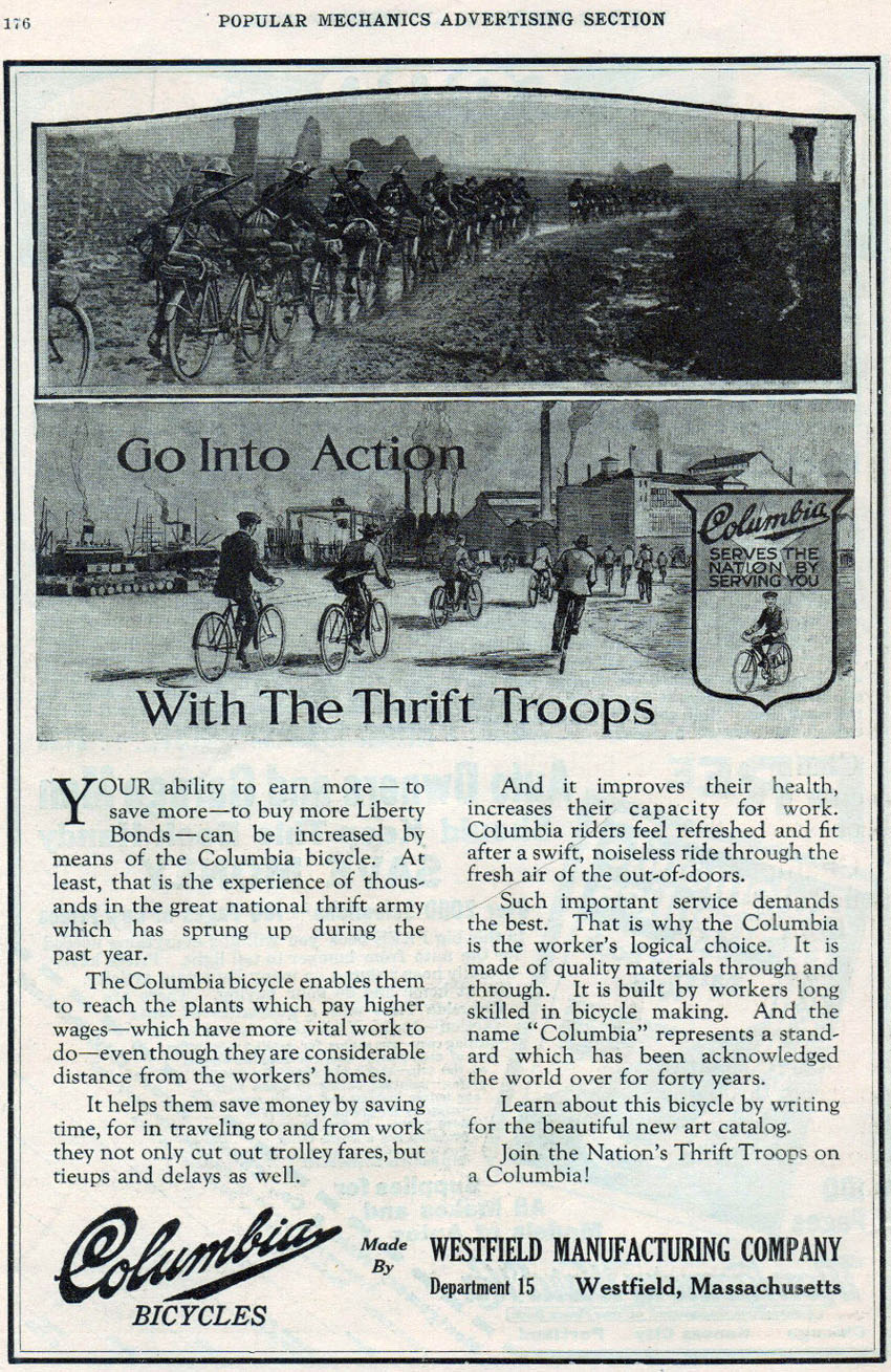 1918 columbia advert military