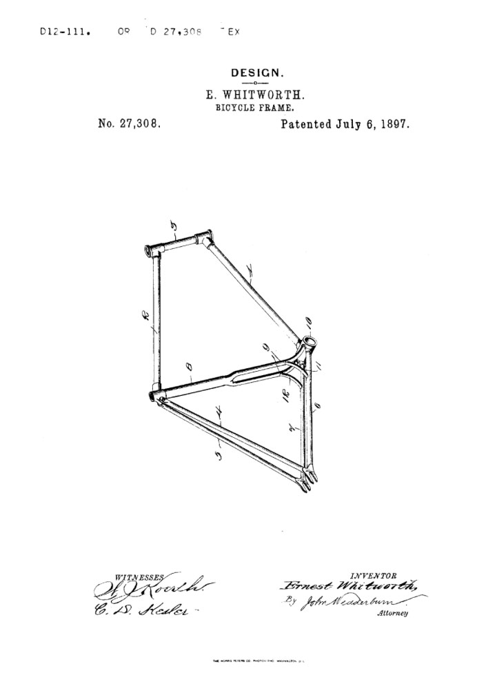 1897 Whitworth truss tube frame bicycle patent