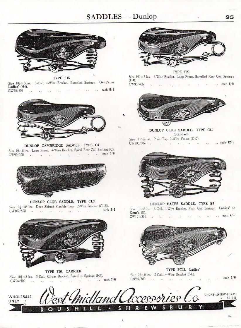 Dunlop Type F20 saddle