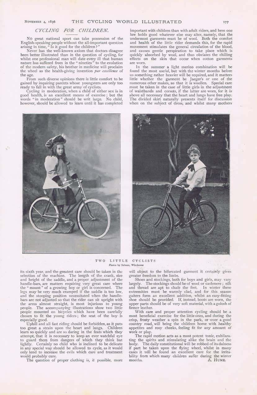 1896 cycling children