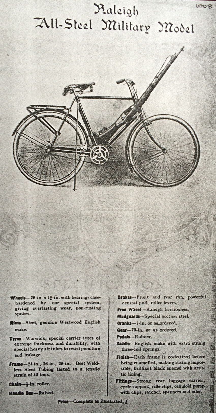 1908 RALEIGH ALL-STEEL MILITARY MODEL copy