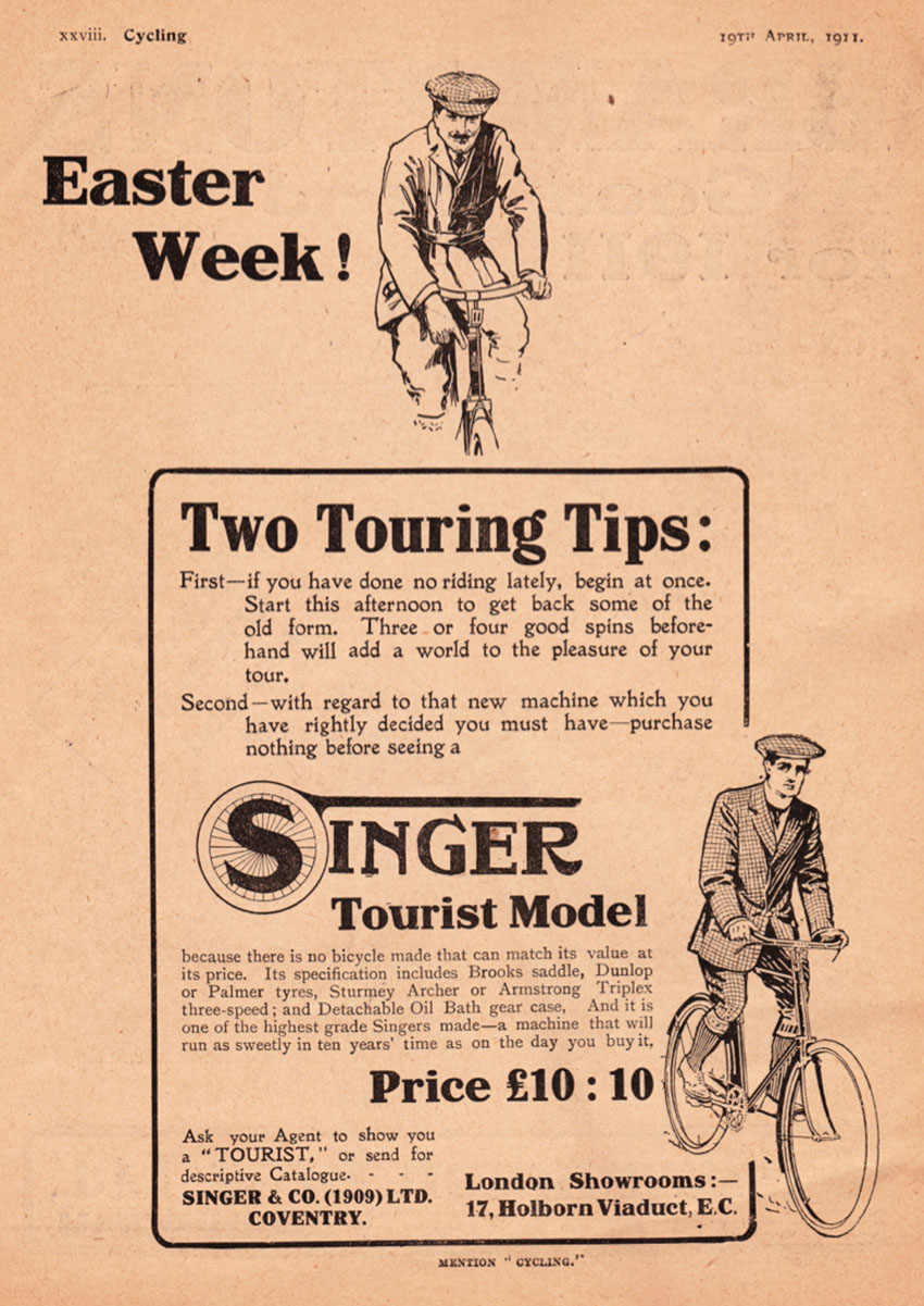 1911 singer bicycle advert
