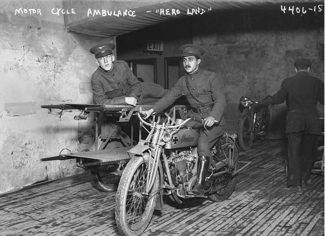 Indian WW1 motorcycle ambulance