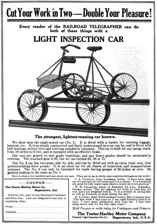 1898 Teetor light inspection car