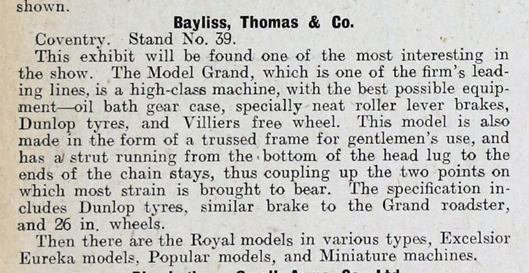 1910 STANLEY SHOW EXCELSIOR BAYLISS THOMAS