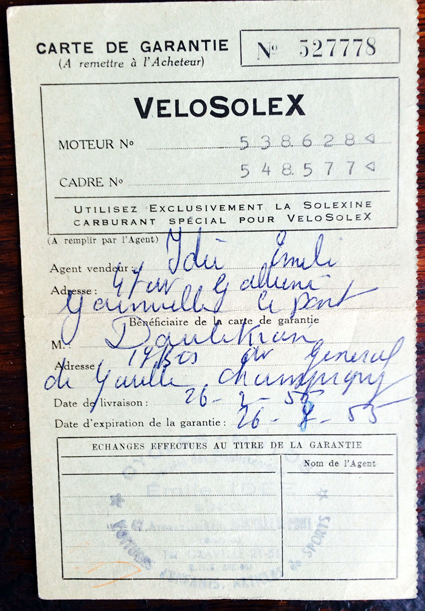 original bill of msale 1955 velosolex
