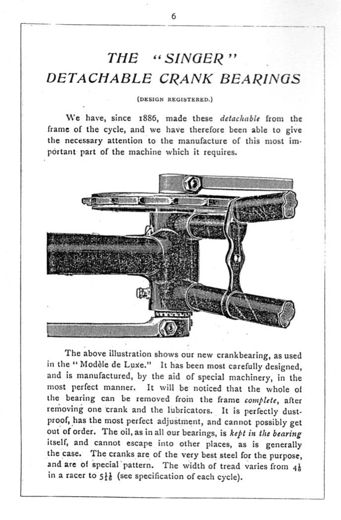 1896 Singer detachable crank bearings