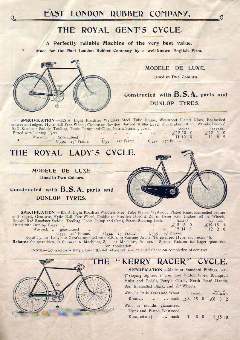 1908 BSA Fittings East London Rubber Co