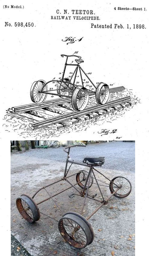 1898 TEETOR RAILWAY VELOCIPEDE CAR