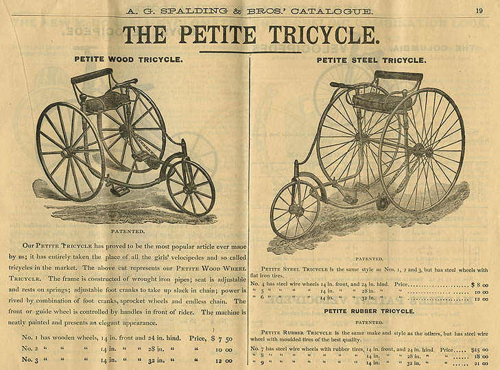 1885 spalding petite tricycle