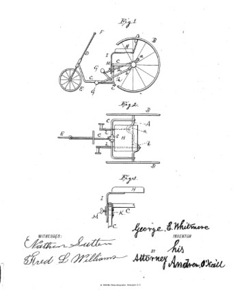 1887 GE WHITMORE PATENT TRICYCLE