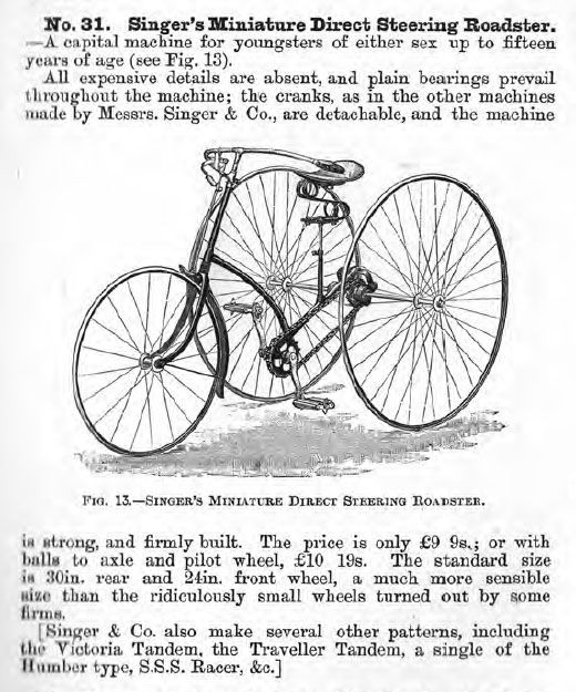 1888 Singer Direct Steering tricycle