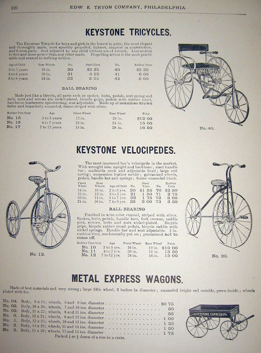1909 keystone tricycles