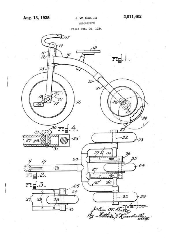 TRIBIKE PATENT J W GALLO 1934 1935 convertible tricycle patent 1
