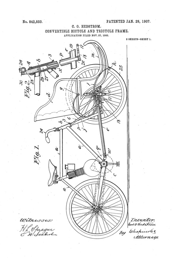 1907 Hedstrom bicycle tricycle