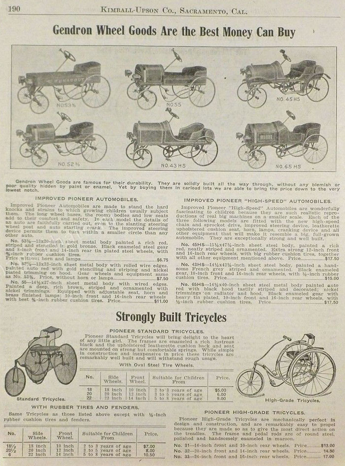1914 gendron tricycles