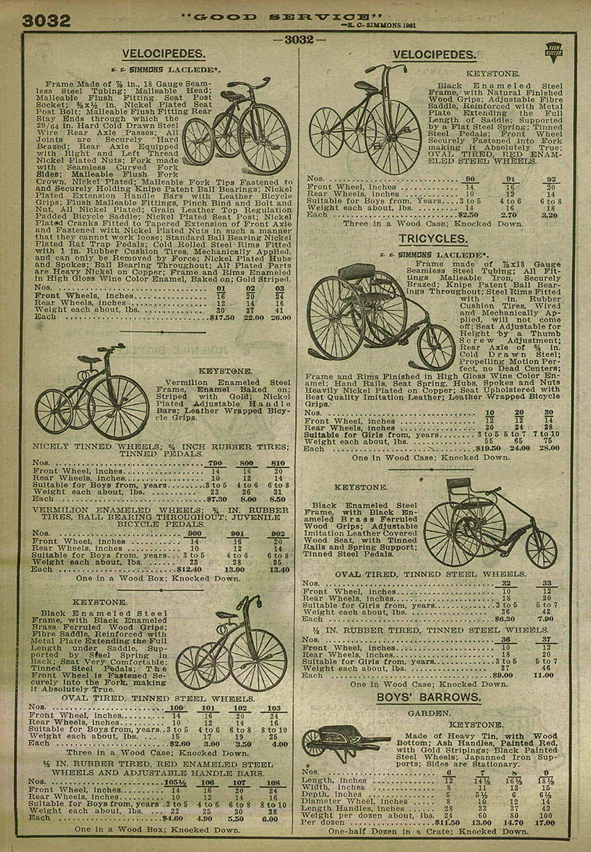 1917 simmons & keystone tricycles