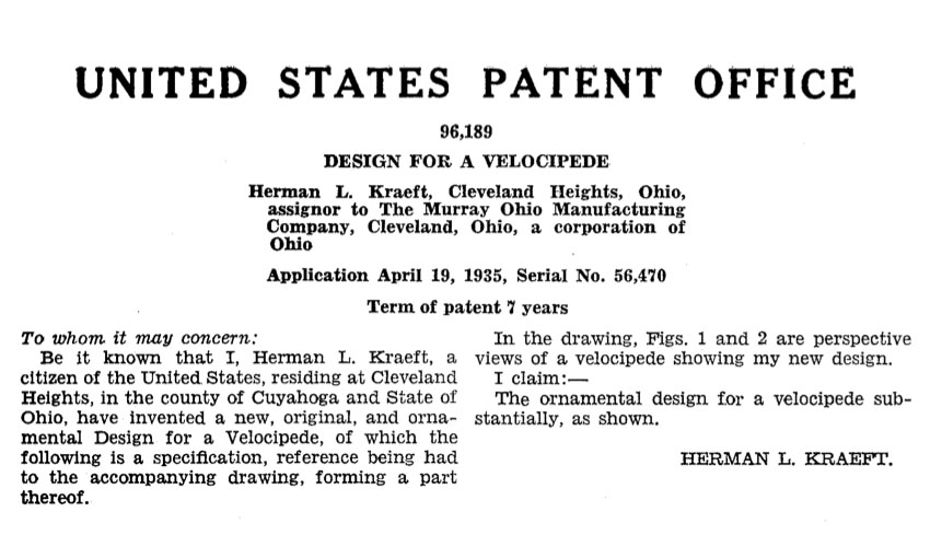 1935 Murray fendered tricycle patent 2