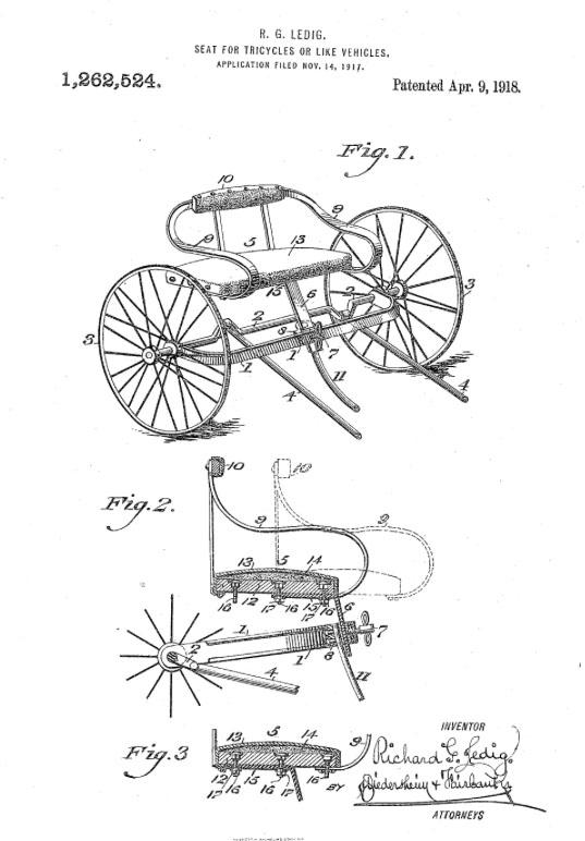 RICHARD G LEDIG 1918 seat tricycle