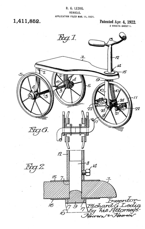 RICHARD G LEDIG 1922 tricycle