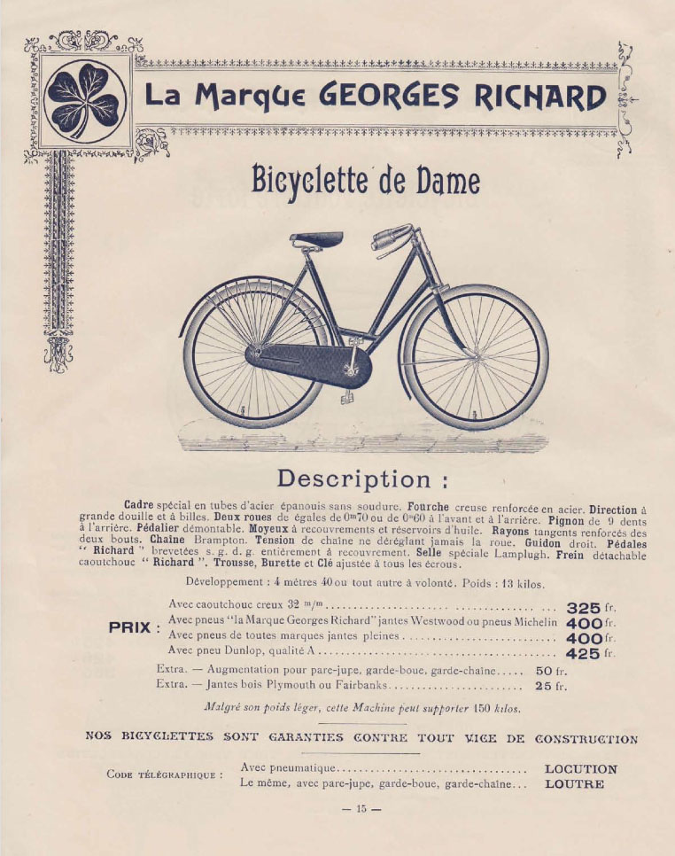 georges richard 1899 catalogue