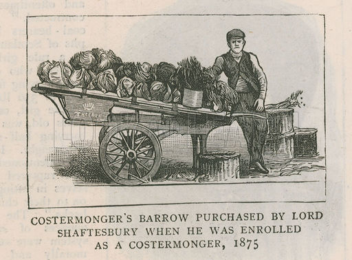 Costermonger's barrow purchased by Lord Shaftesbury when he was enrolled as a costermonger, 1875