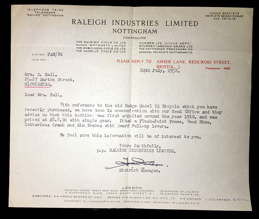 1952-raleigh-industries-letter