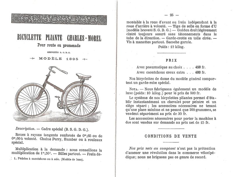 charles morel bicyclette pliant