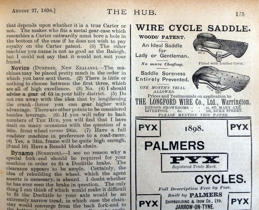 1898 woods patent wire cycle saddle