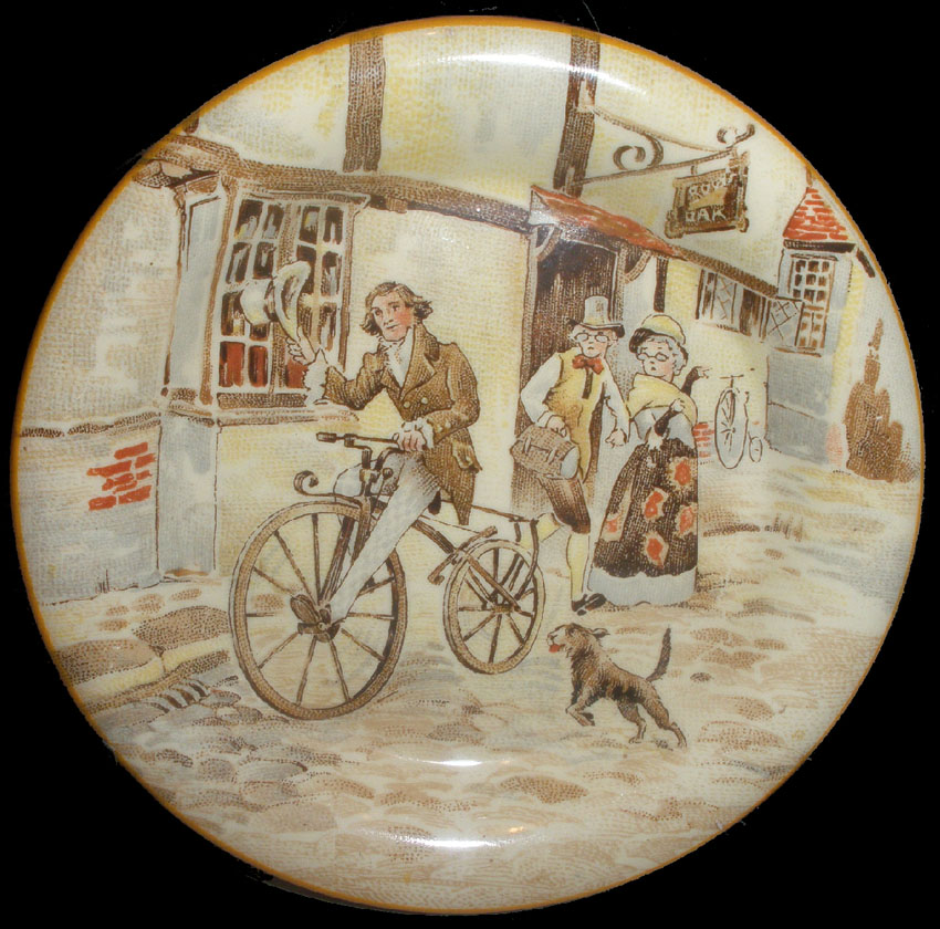 1869 velocipede porcelain plate