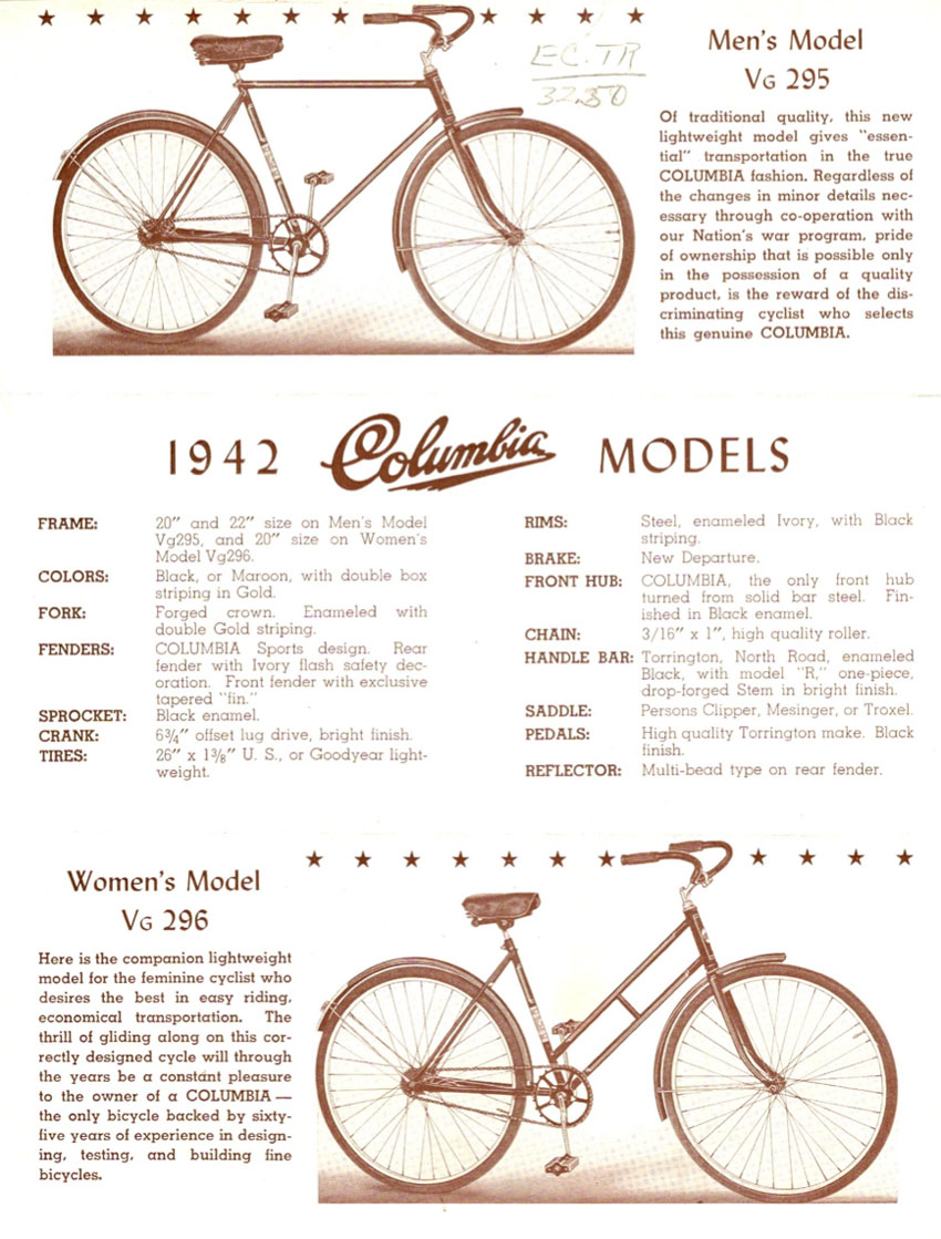 The Online Bicycle Museum 1947 Columbia Compax Paratrooper Diagram And Parts List For Sears Bicycleparts Model Earlier Girls Version Had Twin Down Tubes Below