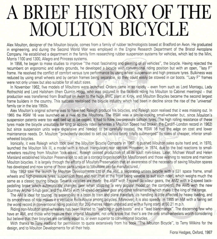 moulton dating The originator the moulton bicycle was born out of my resolve to challenge and improve upon the classic bicycle, with its diamond frame and large wheels, which has.