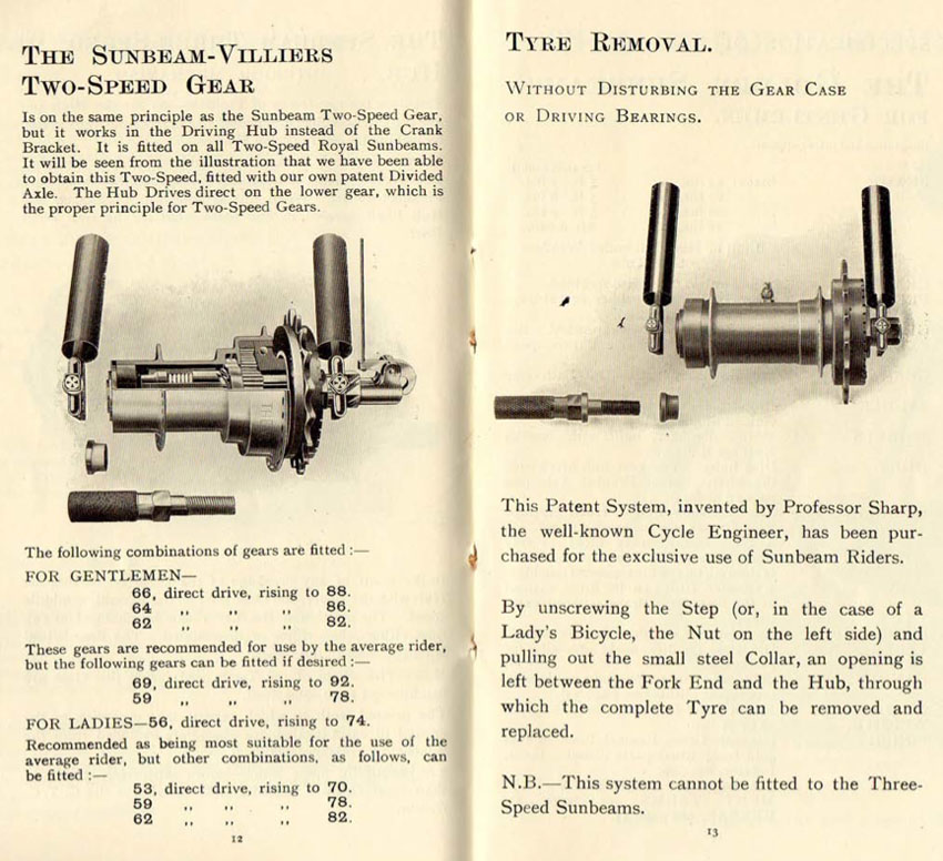 1909 two speed hub gear sunbeam