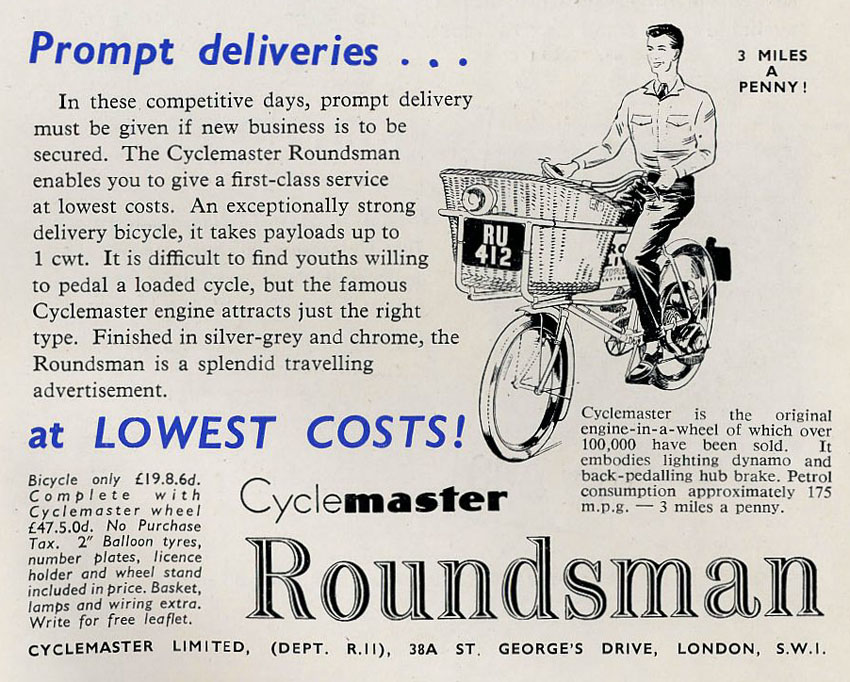 roundsman cyclemaster advert