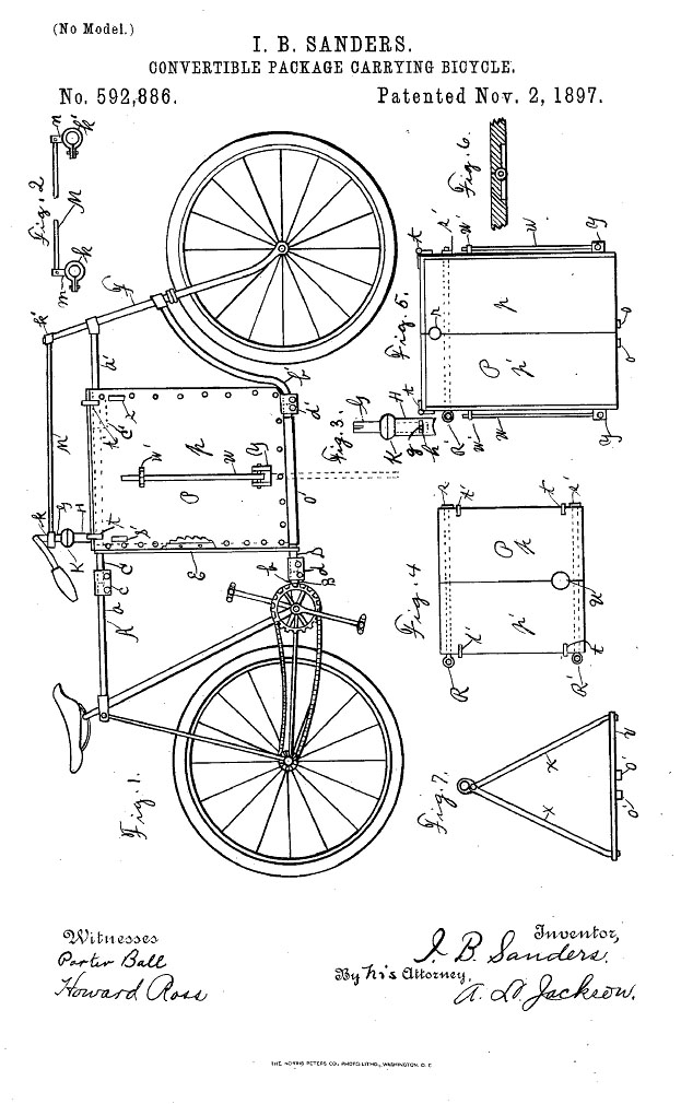 the online bicycle museum 1918 pope daily service mercial bicycle Mercury Capri bicycles are interesting though rather plicated affairs see illustration and 1897 sanders package carrying bicycle patent drawings below
