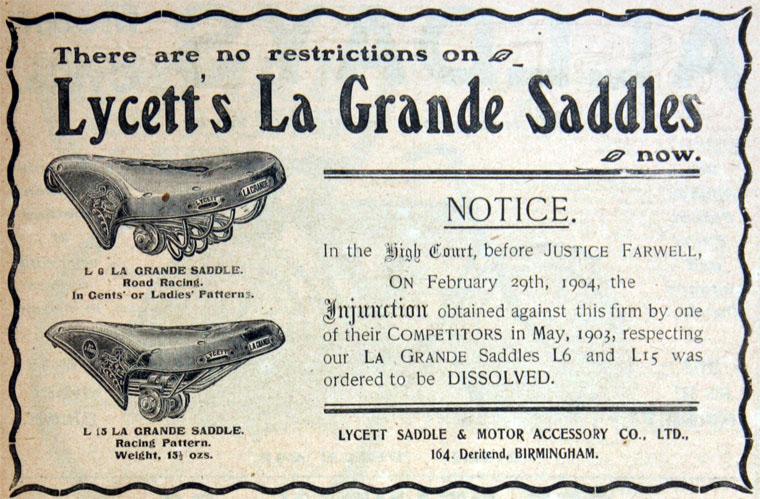 1904 LYCETT LA GRANDE SADDLE