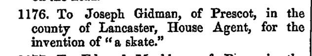 1852 Joseph Gidman Prescot, Lancs skate patent 1176
