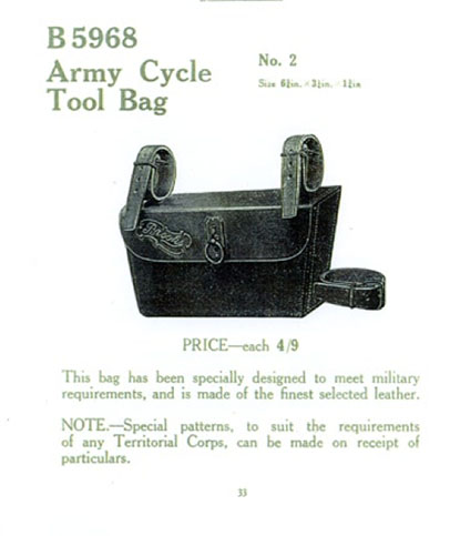1914 Brooks catalogue military toolbag