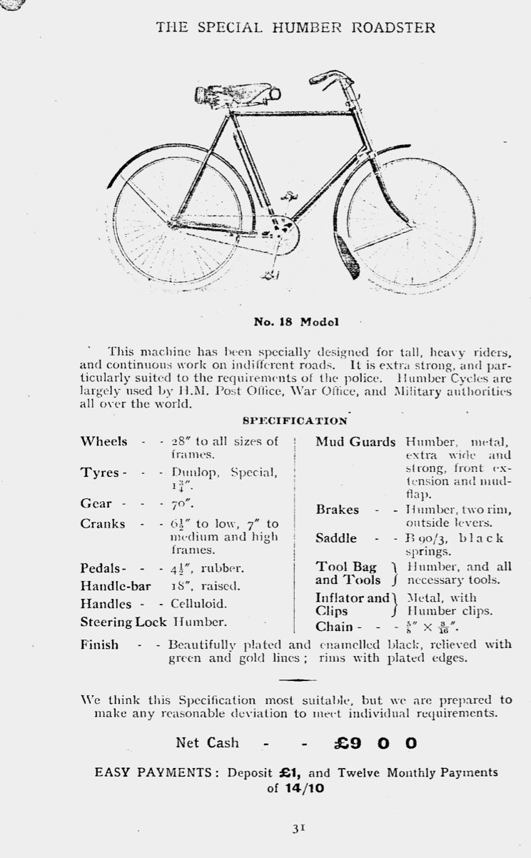1911 humber catalogue 31 police