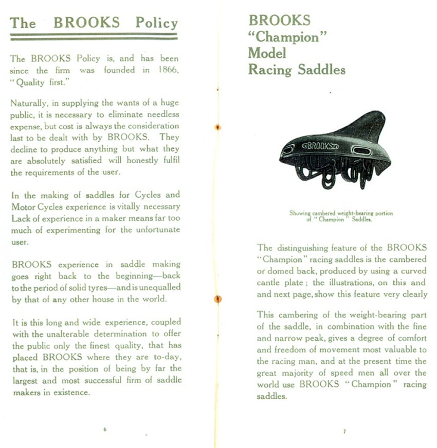 1914 BROOKS CHAMPION RACING SADDLES