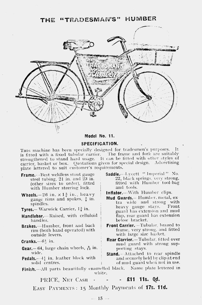 1915 humber tradesmans bicycle