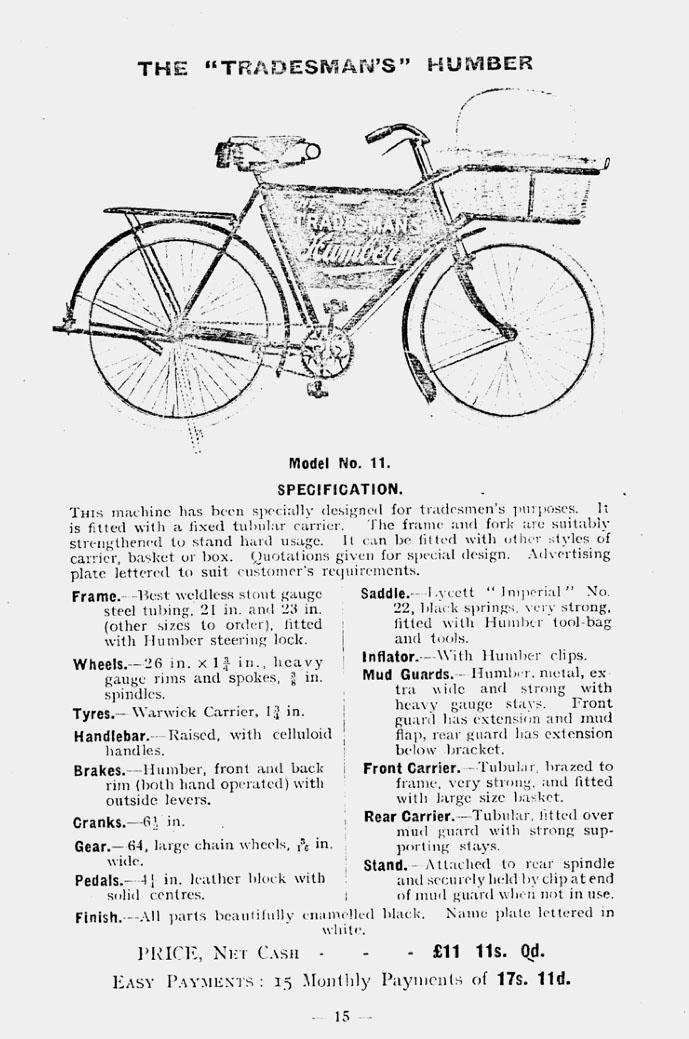 1915 humber tradesmans bicycle