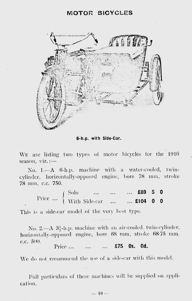 1916 Humber 6hp motor bicycle