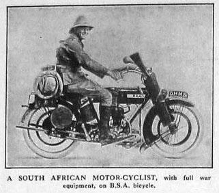 1917 BSA Africa motorcyclist
