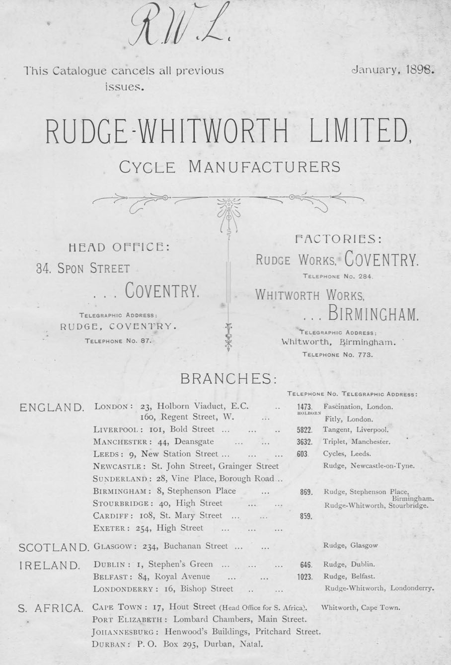 1899 RUDGE WHITWORTH CATALOGUE BRANCHES 1