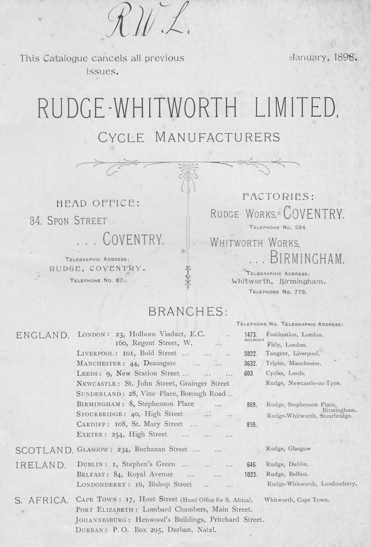 1899 RUDGE WHITWORTH CATALOGUE BRANCHES 1