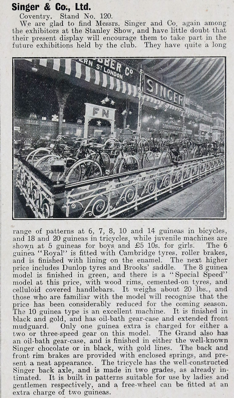 1908 singer stanley cycle show