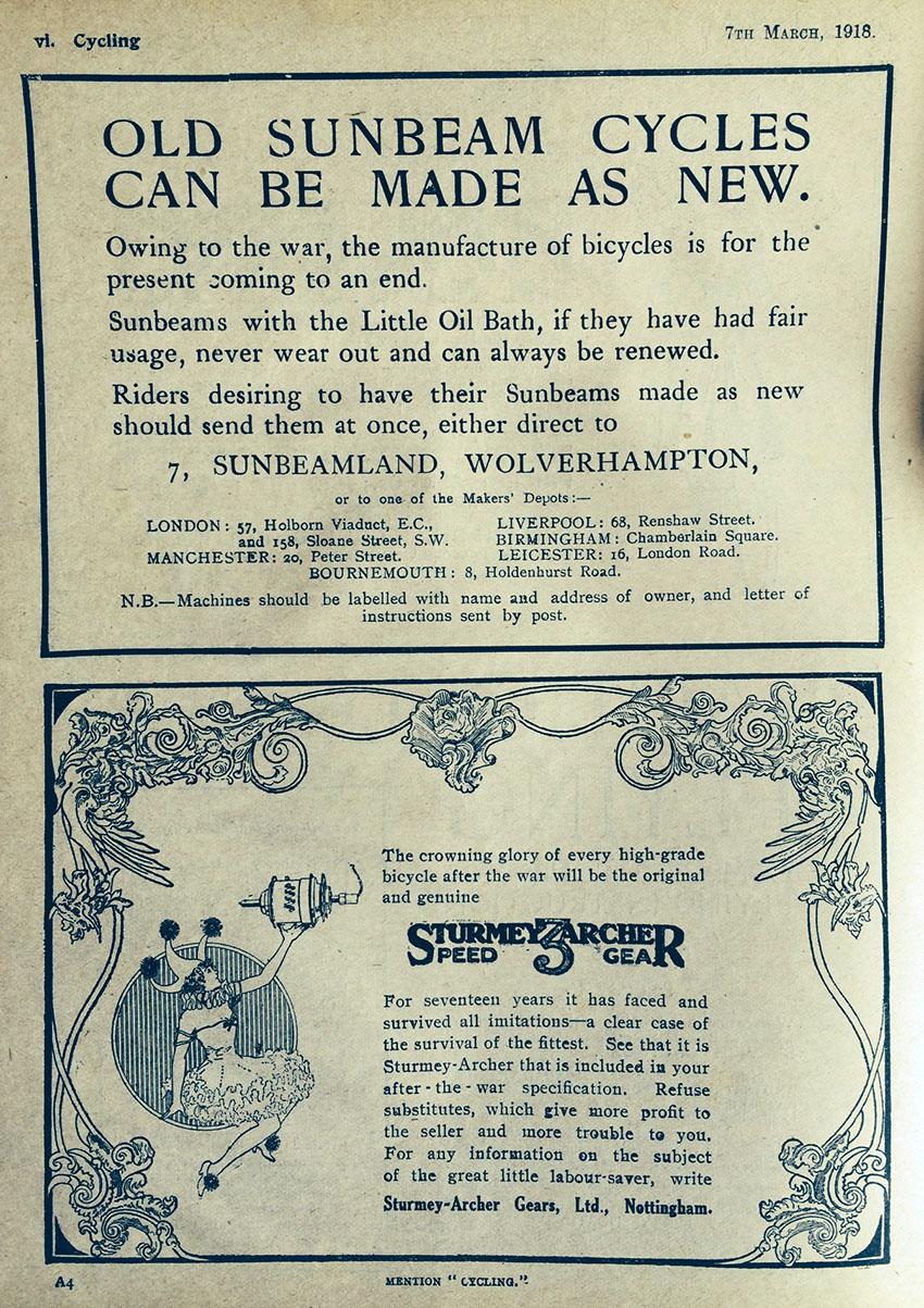 1918 sunbeam ww1 advert