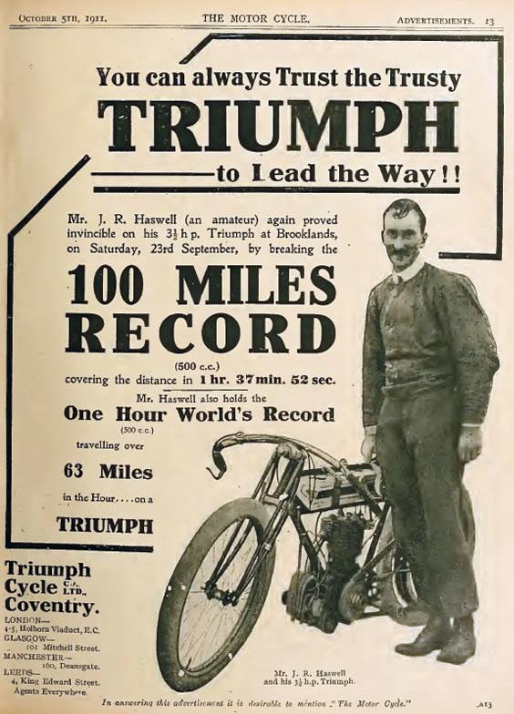 1911 JR Haswell 63mph Triumph