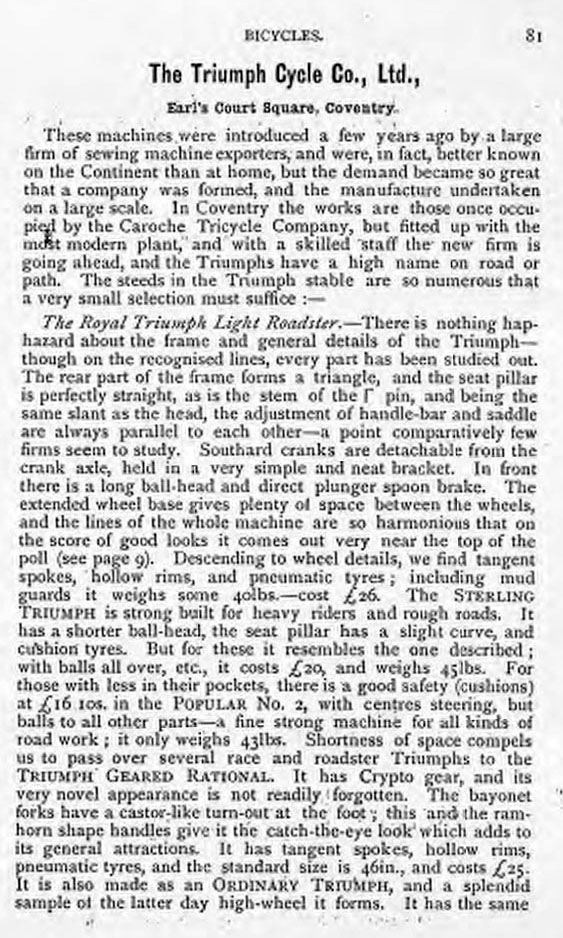 1892 triumph DESCRIPTION
